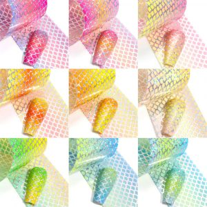 10 броя фолио за декорация на маникюр - Русалка